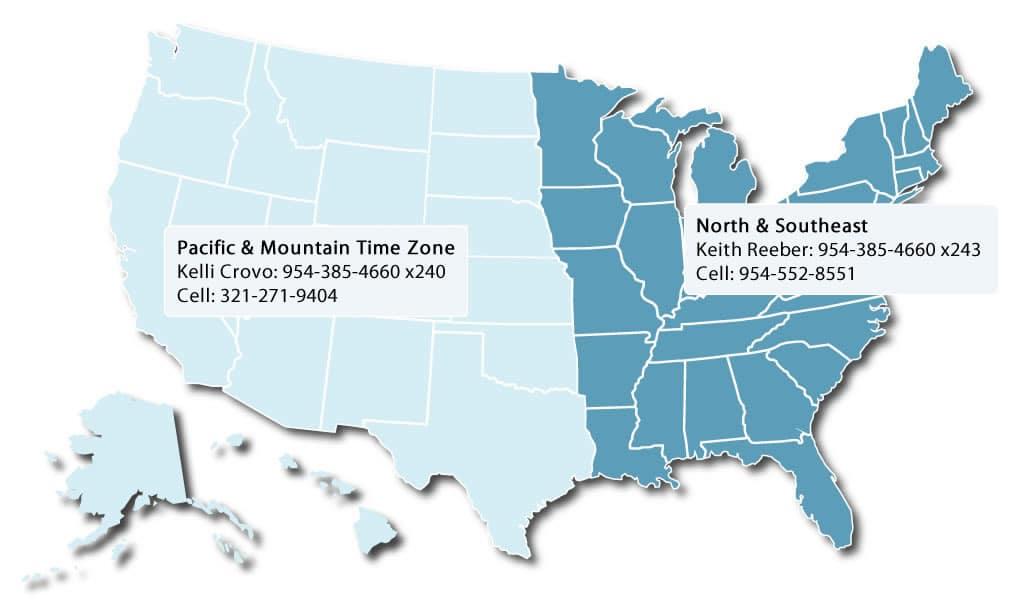 US Map of IM sales territories